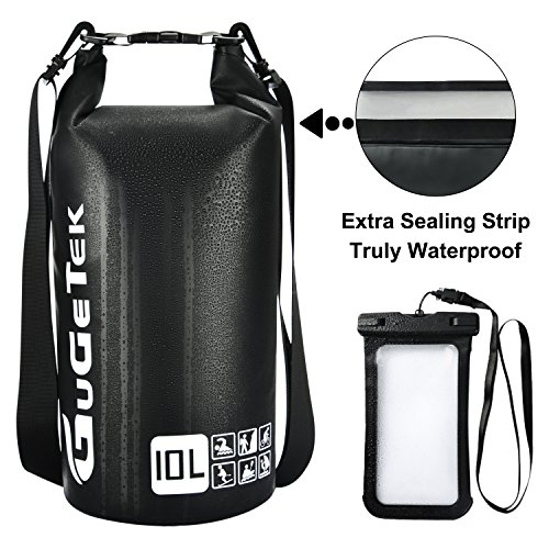 Waterproof Dry Bag Backpack GuGeTek 10L 20L Submersible Floating Roll Top Dry Compression Sack for Kayaking Beach Camping Hiking Fishing Snorkeling and Other Water Sports (Black with phone case, 10L)