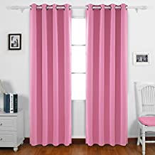 Deconovo Home Decorative Blackout Curtains Panels Room Darkening Curtains Grommet Curtains for Living Room 52W x 84L Inch Pink 2 Drapes