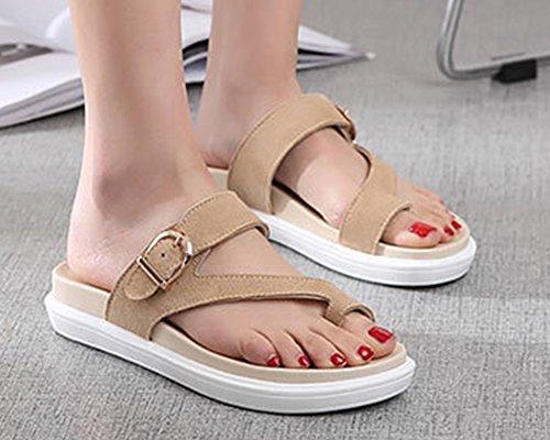 Cuir Femmes on Léger Casual Soft pour Antidérapant Flat Sandales Abricoté Chaussures Faux Slip Runyue Pantoufles ng80Xxt0