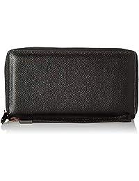 Women RFID Blocking Wallet Genuine Leather Zip Around Clutch Large Travel Purse (Black)