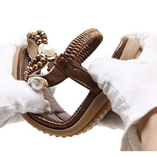 Flat Feet Size Flat Summer Sandals XIAOLIN Brown Large Color Size Heel Size Comfortable Shoes Rhinestone Brown 5 Optional UK5 Toe Beaded Clip CN38 EU38 xrUqYz0Un