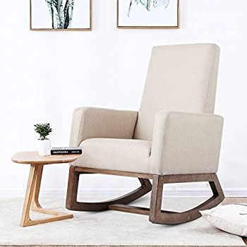 Superieur Homedex Fabric Morden Rocking Upholstered Relax Chair (Light Beige Fabric  Chair)