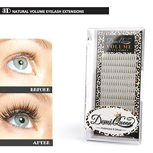 Demi Queen 3D Premade Fans Russian Individual Volumes Lashes Rapid Handmade Cluster Eyelash Extensions Thickness 0.07mm D Curl