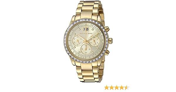 d17534ba4410 Amazon.com  Michal Kors Brinkley Gold-Tone Dial SS Chronograph Quartz  Ladies Watch MK6187  Michael Kors  Watches