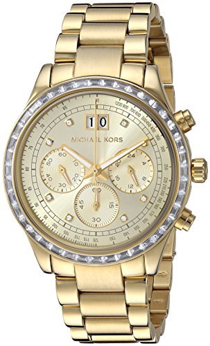 Gold-Tone Dial SS Chronograph Quartz Ladies Watch MK6187 (10 Atm Water)