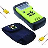 TPI 343/C2 Water Resistant, Dual-input, K-Type Thermocouple Thermometer with Tilt Stand Boot, Soft Pouch, and Temperature Probes with Sub-mini Connection, -50 to 1350 Degrees C, -58 to 2462 Degrees F, Accuracy of + or - 0.3% of Reading Plus 1 Degree C