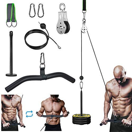 Katrol Kabel Systeem van Fitness voor lat Pulldown en Lift, 2m DIY Uitrusting met Handvatten en Laadplaat voor…