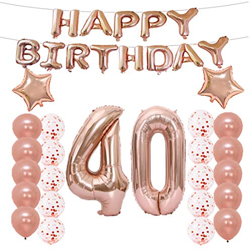 (LQQDD 40th Birthday Decorations Party Supplies,40th Birthday Balloons Rose Gold,Number 40 Mylar Balloon,Latex Balloon Decoration,Great Sweet 40th Birthday Gifts for Girls,Photo Props)