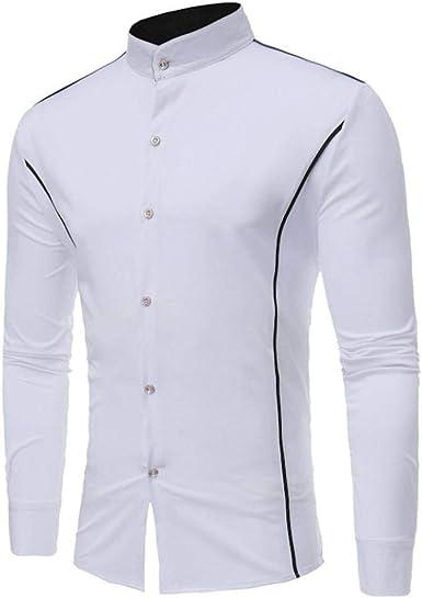 Camisa De Manga Corta Slim Fit De Hombre Ropa Camisa De Poloshirt De Cuello Redondo Camisa De Hombre Slim De Verano Camisa De Manga Larga Casual De Rayas Casual Blusa: Amazon.es: Ropa