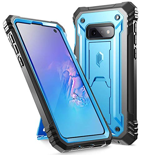 Galaxy S10e Rugged Case with Kickstand, Poetic Heavy Duty Military Grade Full Body Cover, with Built-in-Screen Protector, Revolution Series, for Samsung Galaxy S10e 5.8 Inch (2019), Blue