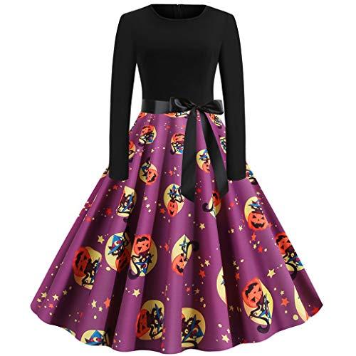 GREFER Dresses for Women Party Wedding Elegant Fall Printed Long Sleeve Vintage Hepburn Halloween Costumes Purple (Lowes Decor Fall)