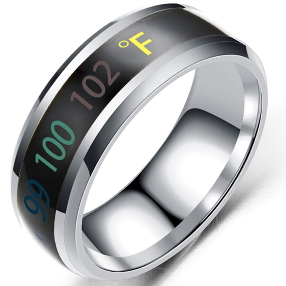 Jude Jewelers 8mm Stainless Steel Body Temperature Sensative Color Changing Wedding Band Ring