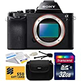 Sony a7 Full-Frame 24.3 MP Mirrorless Interchangeable Digital Lens Camera - Body Only (ILCE7) with Amateur Accessories Bundle Kit includes 32GB Class 10 SDHC Memory Card + Hard Shell Carrying Case + Camera Lens Cleaning Kit + Bonus for Digital Prints