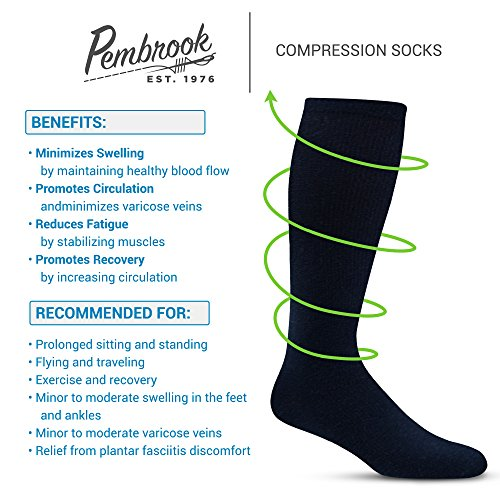 Men's Compression Socks (6-Pack) – L/XL – Navy - Graduated Muscle Support, Relief and Recovery. Great for Running, Medical, Athletic, Diabetic, Travel, Nursing (8-15 mmHg) by Pembrook (Image #5)
