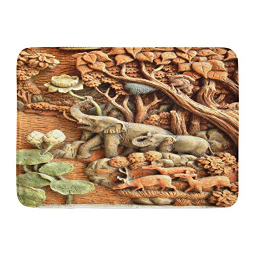 Elephant Wood Mural (Emvency Bath Mat Wood Mural Elephant Carved Temple Door in The Countries Thailand Teak Artistic Bathroom Decor Rug 16