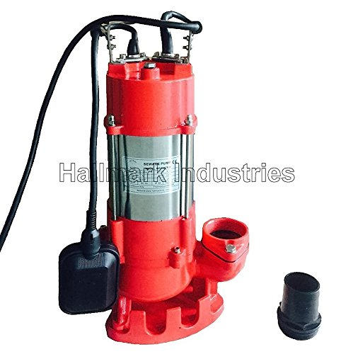 Stainless Steel 20 Cable 1hp Heavy Duty Hallmark Industries MA0387X-9 Sewage Pump 115V 7250 GPH//49 Lift with Float Switch Maximum Flow Rate Stainless Steel