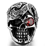 MoAndy Jewelry Mens Stainless Steel Rings CZ Silver Black Red Skull Gothic Size 13