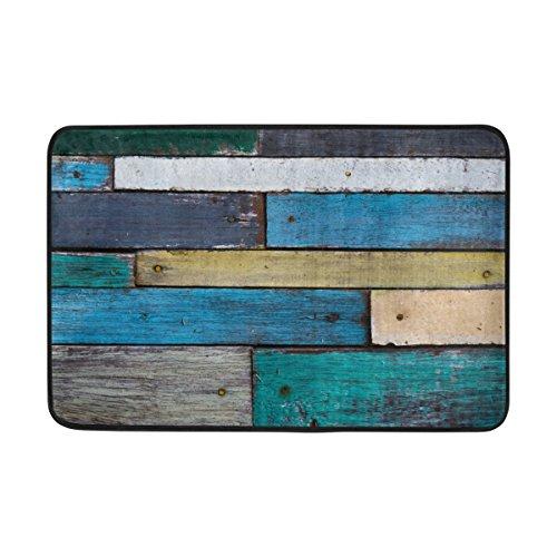 Sunlome Custom Rustic Planks Barn House Wood and Weathered Nails Lodge Hardwood Graphic Print Bathroom Mat Waterproof Fabric Bath Doormat , 23.6 x 15.7 inch