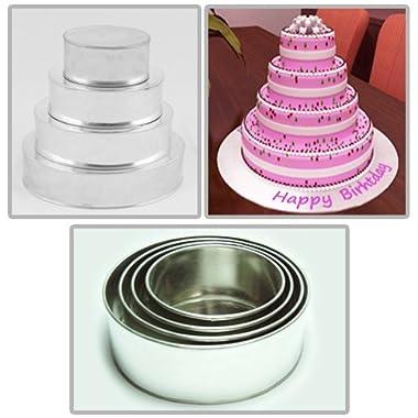 Round Multilayer Wedding Birthday Cake Baking Pan Set of 4 Cake Pans (4  Deep)