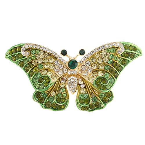 EVER FAITH Women's Austrian Crystal Cute Butterfly Insect Brooch Apple Green - Apple Brooch Crystal