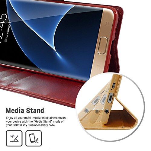 Galaxy S7 Fundas, [Drop Protection] GOOSPERY® Blue Moon Diary Caja del teléfono de la imitación de cuero tirón de la carpeta Fundas fundas para Samsung Galaxy S7 - Black Wine