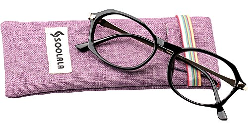 SOOLALA Womens Fashion Designer Diamond Cut Edge Oval Frame Reading Glasses, ShinyBlack, - Walmart Prescription Non Reading Glasses