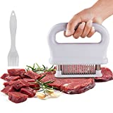 Meat Tenderizer Stainless Steel Ultra Sharp 48 Needle Blade Tenderizer with Basting Brush for Kitchen Outdoor Barbecue (White)