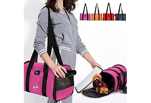 Pet Dog Folding Bag Dog Cat Portable Bag Carrier Travel Tote Bag Crate Cage Dog Carrier Bags (color: Rose red)