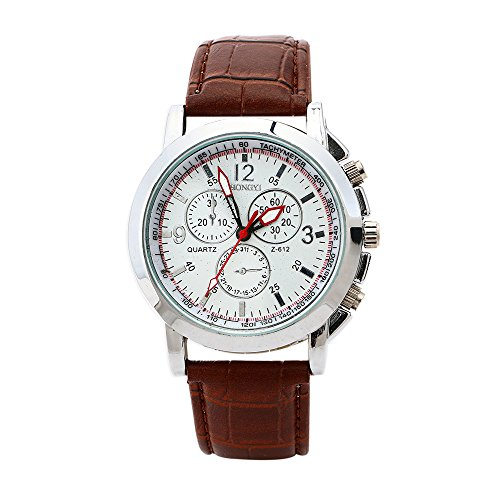 TODDCAHALAN Classic Fashion Luxury Brown Leather Strap White Dial Quartz Mens Wrist Watch