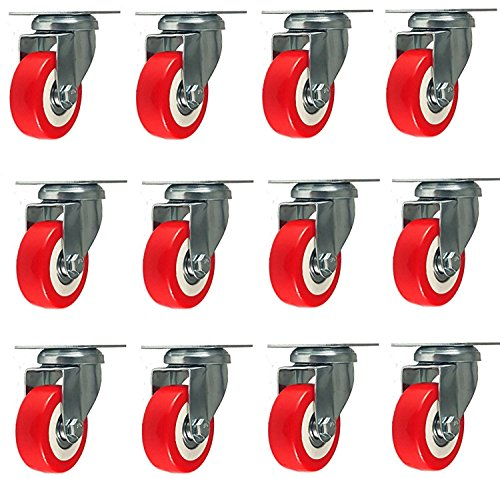 12 Pack Caster Wheels Swivel Plate Casters On Red Polyurethane Wheels (Red Polyurethane)