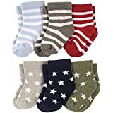 Footprints Super soft Organic Cotton Baby Boy Girls Kids socks- Pack of 6- (12-24 Months)- Stripes and Stars