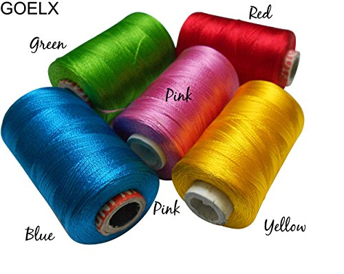 - Goelx Silk Thread Shiny and Soft thread for jewelry making-tassel making- embroidery. 5 Popular Jewelry Making -embroidery Colors Included.