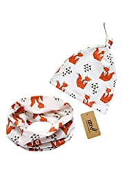 iZiv 2 PACK Cute Baby Hats Scarfs Infant Soft Cotton Hat and Scarf Set, Fashion Style Spring Autumn for 0-2 Years (Fox)