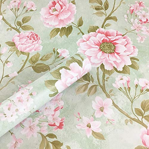 UPREDO Vintage Green Rose Wallpaper Peel Stick Shelf Liner Funitures Dresser Drawer Cabinet Contact Paper Decor 17.7 Inch by 100 ()