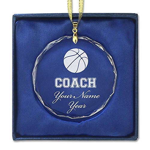 Round Crystal Christmas Ornament - Basketball Coach - Personalized Engraving Included