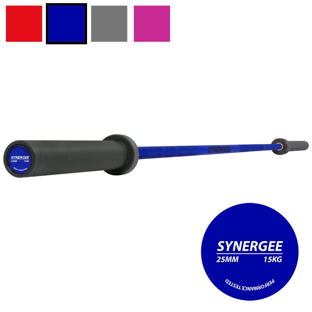 Synergee Games 15kg Colored Women's Blue Cerakote Barbell. Rated 1500lbs for Weightlifting, Powerlifting and Crossfit