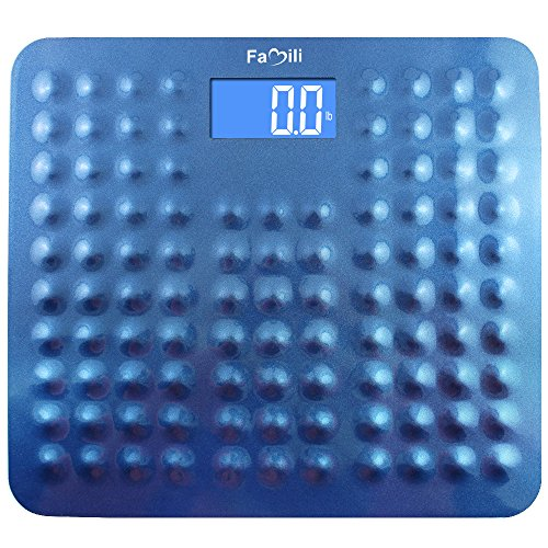 Famili 271B Accurate Digital Body Weight Bathroom Scale with Non Slip Design 400lb / 180kg, Blue Upgraded Version