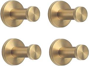"""NELXULAS Golden Brushed Stainless Steel Single Super Heavy Duty Wall Mount Hook, Bath Towel Hooks, Coat Hanger (2"""" , 4 PCS)"""
