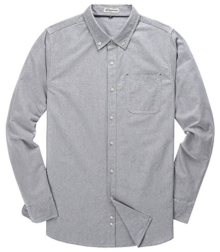 Men's Solid Color Oxford Long Sleeve Button Down Casual Shirt,Light Gray,X-Large