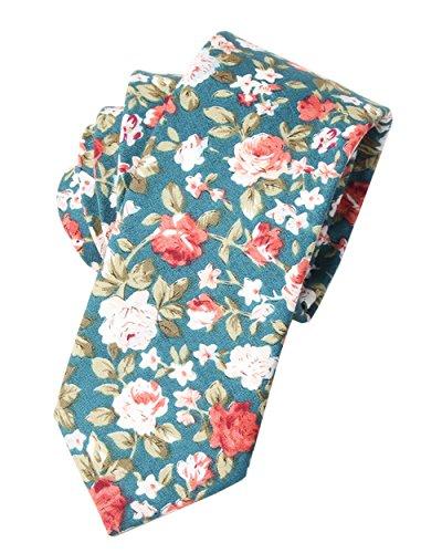 (Yuanheart Floral Tie Men's Skinny Ties Cotton Necktie Narrow Neck Tie (093))