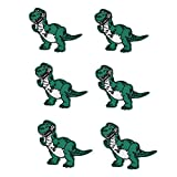 Poluka 6Pcs Dinosaur Patches DIY Kid Embroidered Patches Dinosaur Sew On/Iron On Patch Applique Dinosaur Patches Badge For Clothes Applique Crafts Kids Clothing Hat Bag Decorations