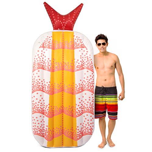 Shrimp Sushi - Sol Coastal Shrimp Sushi Inflatable Pool Float | Luxury Jumbo 6ft Shrimp Raft Perfect for Kids and Adults, Lounge and Sunbathe in Comfort and Style