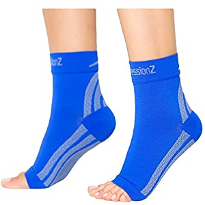 Foot Sleeves (1 Pair - Blue M) Best Plantar Fasciitis Compression for Men & Women - Heel Arch Support/ Ankle Sock