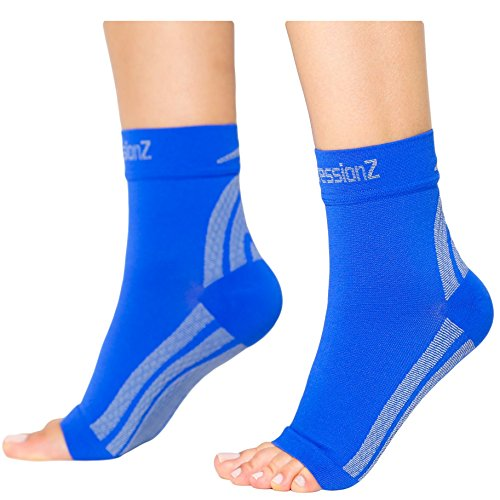 CompressionZ Plantar Fasciitis Socks – Compression Foot Sleeves – Ankle Brace Arch Support – Pain Relief for Heel Spurs, Edema, Achilles Tendonitis
