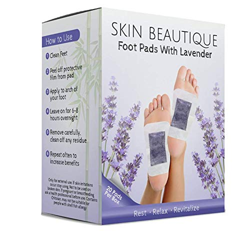 Skin Beautique Lavender Foot Pads - Aroma Pad Patches for Pain Relief | Soothing Lavender to Relieve Stress - Remove Impurities - Improve Sleep | Relaxing & Calming - 20 Pack