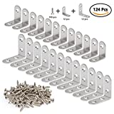 QLOUNI Corner Braces 24 Pcs 2 Size L Shaped Heavy Duty Stainless Steel Joint Right Angle Bracket Fastener with Screws (30 x 30mm, 40mmx40mm)