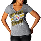 NFL Womens Pittsburgh Steelers Victory Play IV Deep V-Neck Tee , Large
