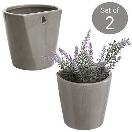MyGift Set of 2 Wall-Mounted Gray Ceramic Sconce Flower Plant Vase, Succulent Planter Pots Flat Wall Set
