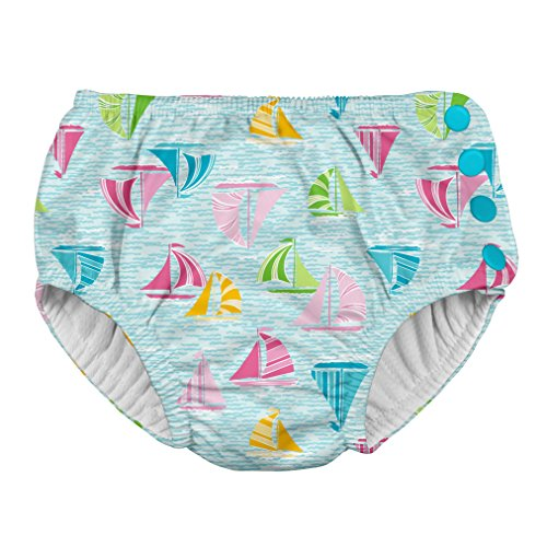 Price comparison product image i play.. Toddler Girls' Snap Reusable Absorbent Swimsuit Diaper, Light Aqua Sailboat Sea, 4T