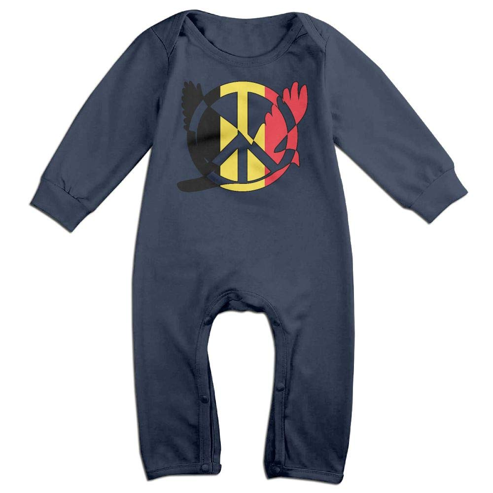 Mri-le1 Baby Boy Girl Coverall Belgium Flag Peace Sign Symbol Baby Rompers